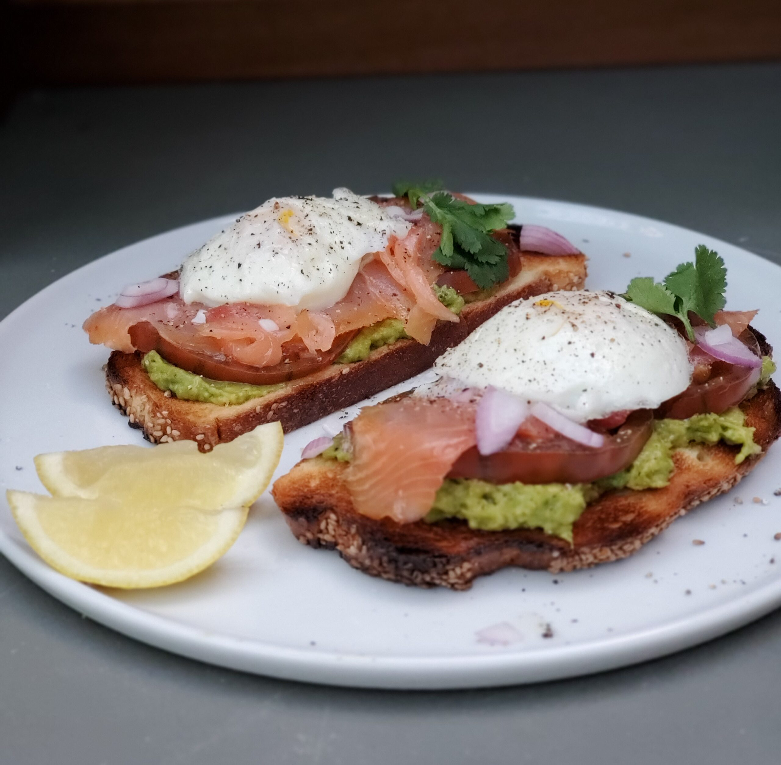 Avocado Toast w/Salmon & Poached Eggs