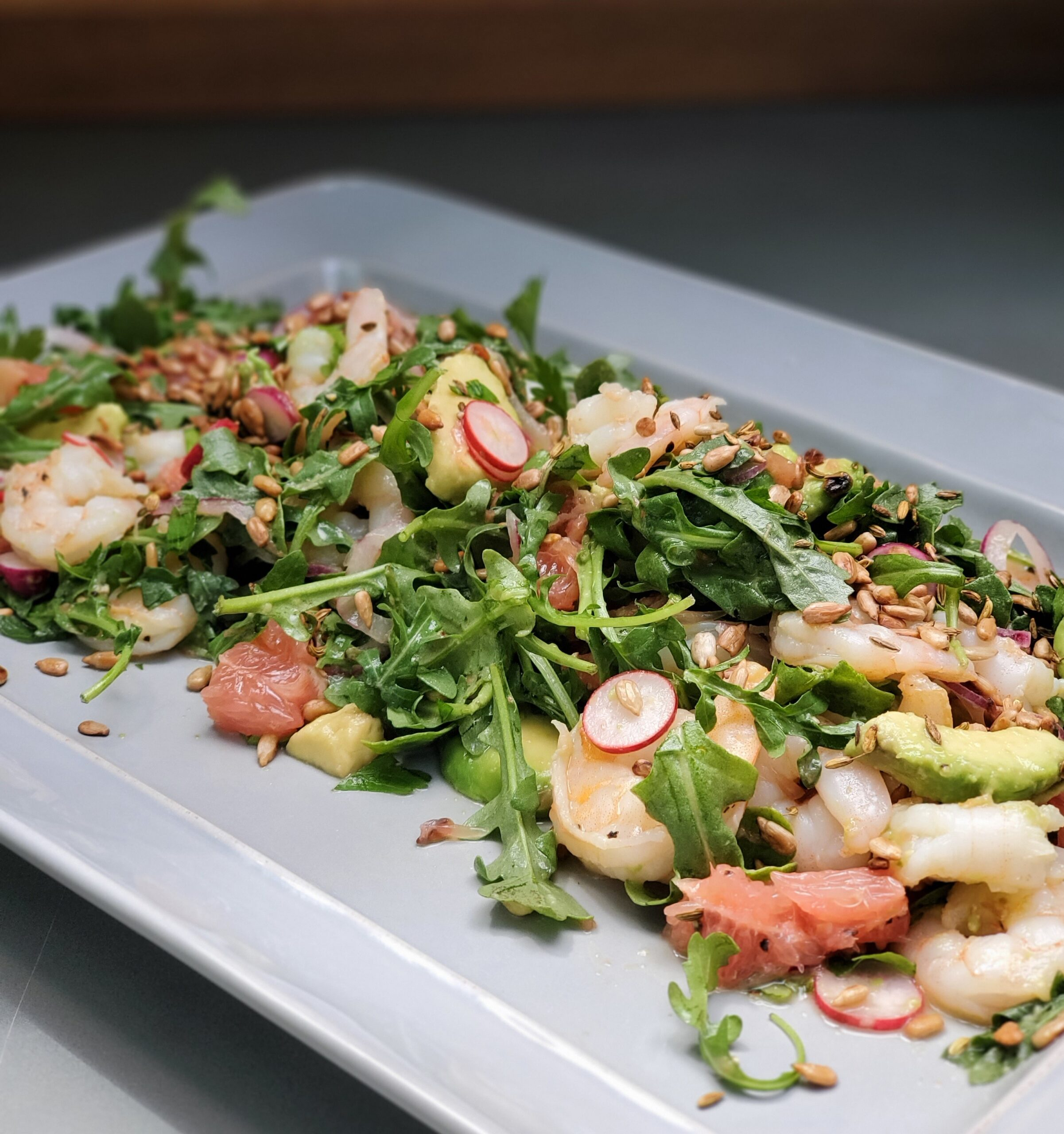 Arugula Salad w/ shrimp, grapefruit & avocado